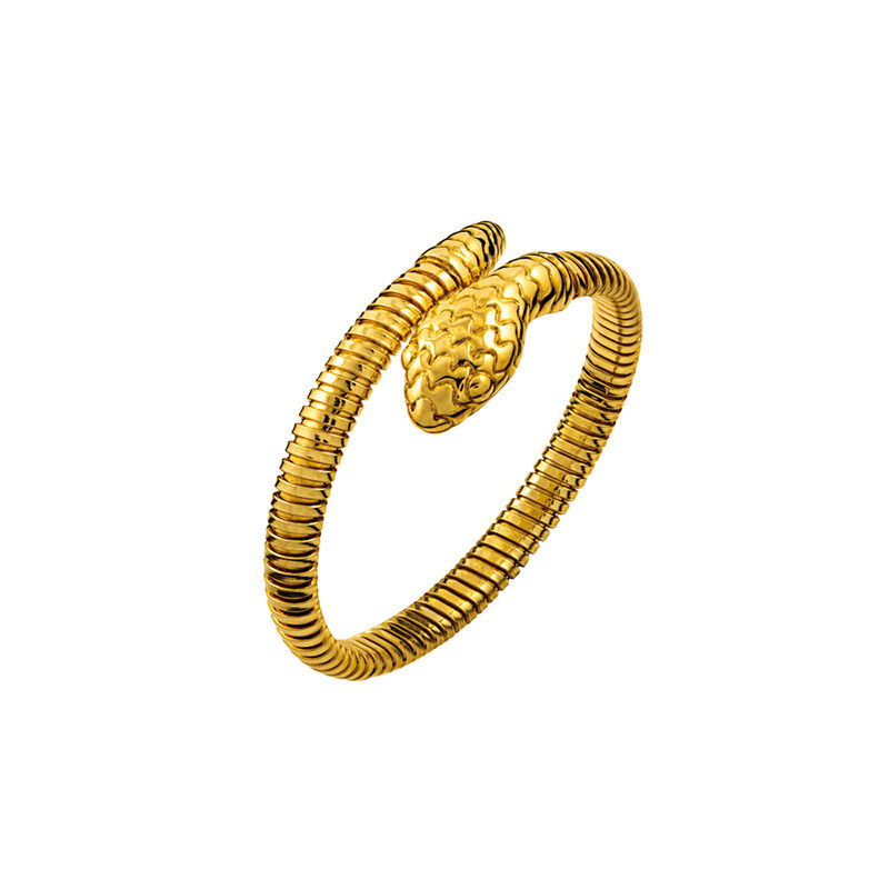 Simple gold plated tubogas snake bracelet, J00614-02-PQ, hi-res