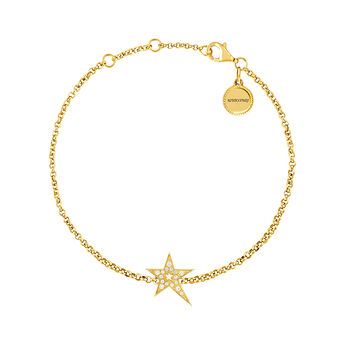 Gold hollow asymmetric star bracelet with topaz, J03974-02-WT, hi-res