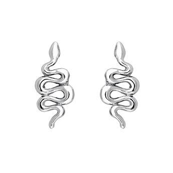 Boucles d'oreilles serpent argent, J04010-01, hi-res