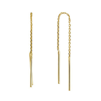 Simple gold plated pendant earrings, J04640-02, hi-res