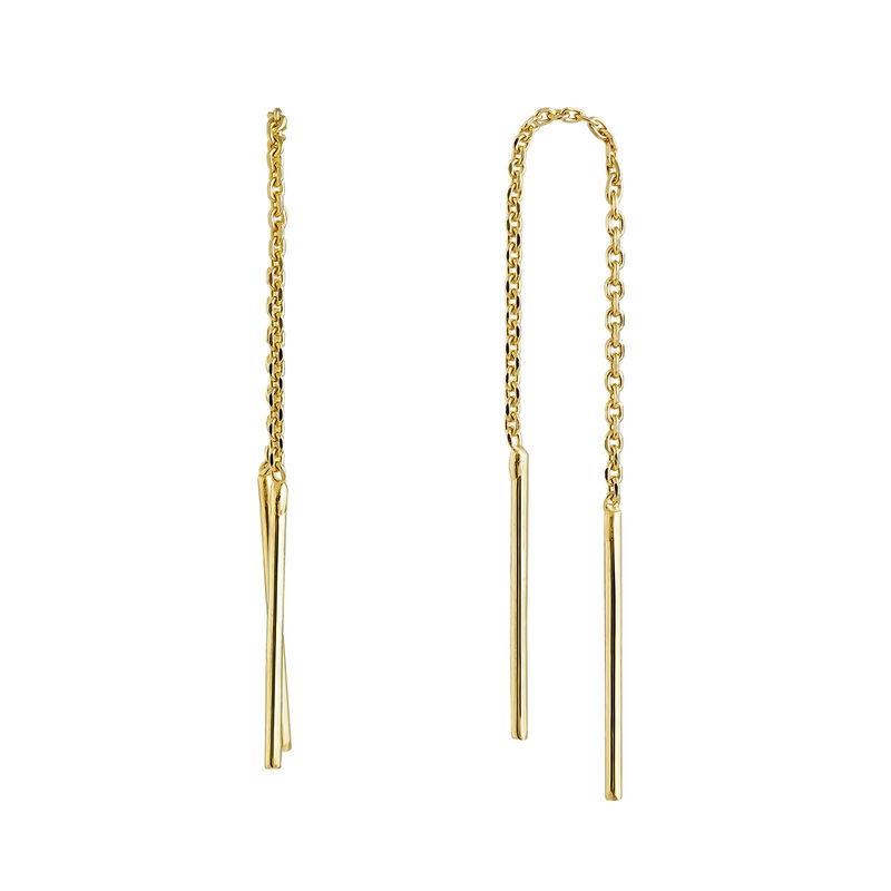 Boucles d'oreilles simples en argent plaqué or, J04640-02, hi-res