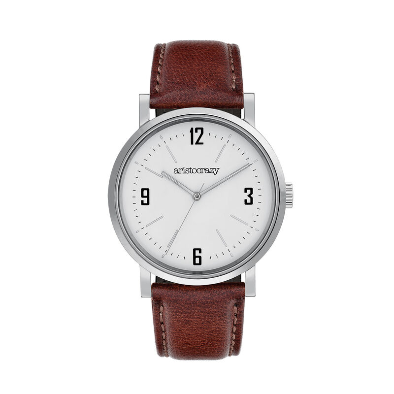 Brooklyn watch strap white face, W45A-STSTWH-LEBR, hi-res