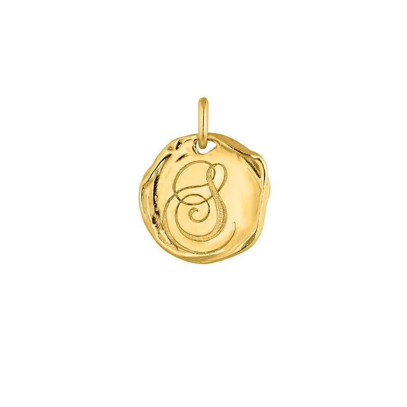 Pendentif médaille initiale S en argent plaqué or, J04641-02-S, hi-res