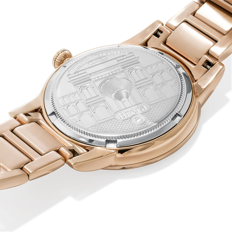 Brera watch rose gold bracelet black face., W44A-PKPKBL-AXPK, hi-res
