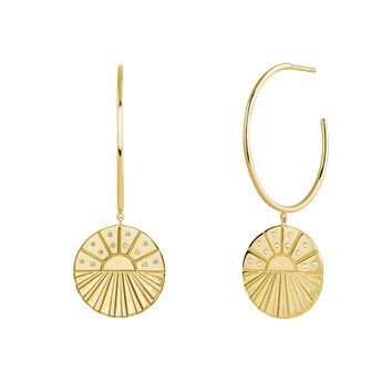 Gold plated circular pendant hoop earrings, J04132-02-WT, hi-res