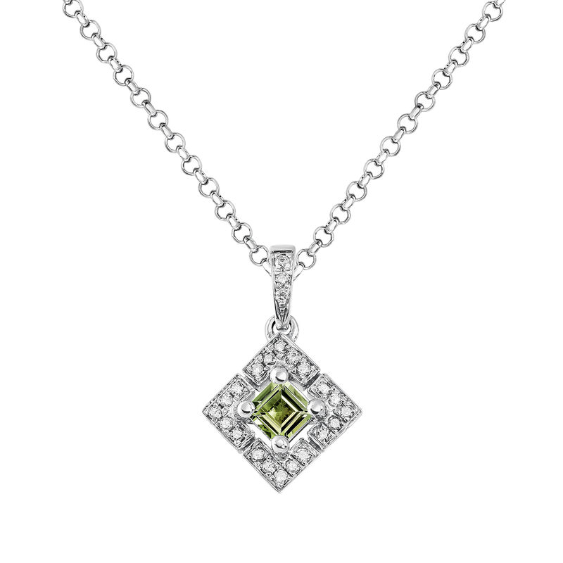Square silver green tourmaline necklace, J03774-01-GTU, hi-res