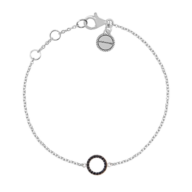 Silver circle bracelet with spinel, J01624-01-BSN, hi-res