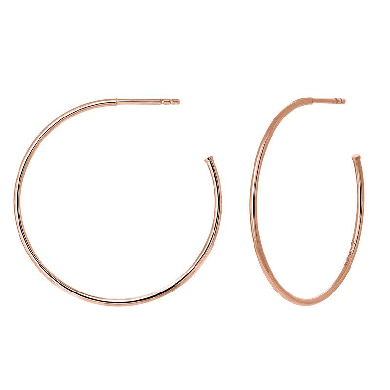 Pendientes aro grande fino plata recubierta oro rosa, J03520-03, hi-res