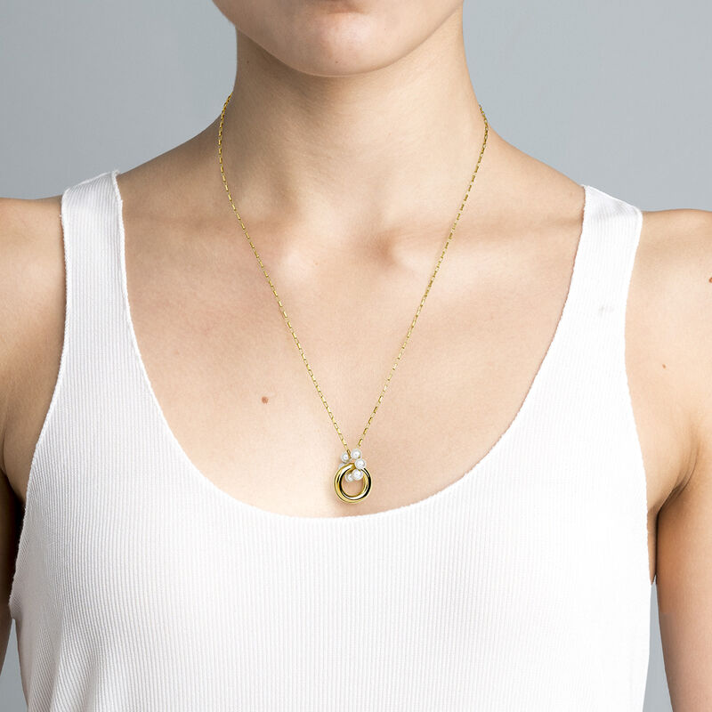Gold plated silver pearl motif necklace, J04727-02-WP, hi-res