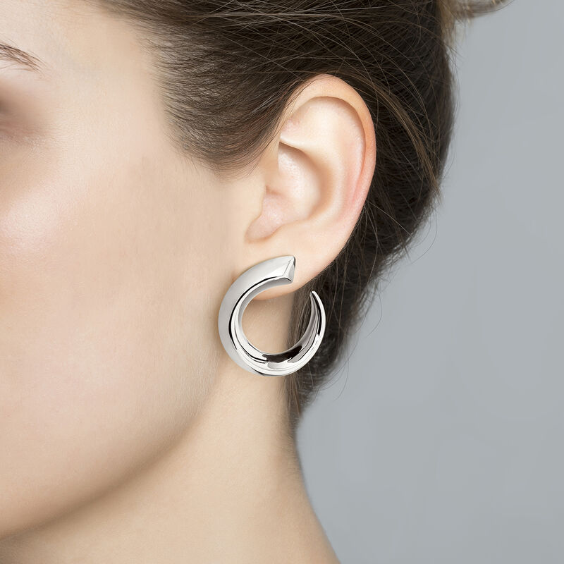 Large silver tapered open hoop earrings, J04255-01, hi-res
