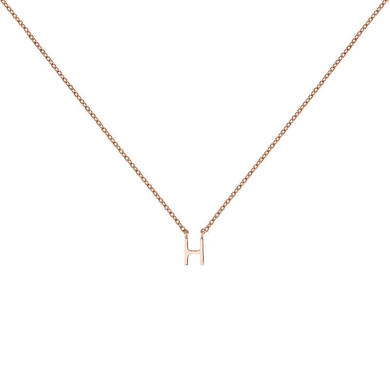 Rose gold Initial H necklace, J04382-03-H, hi-res