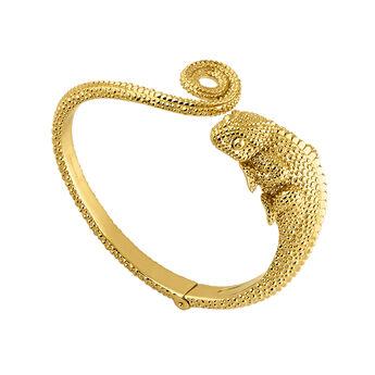 Gold chameleon bangle, J04201-02, hi-res