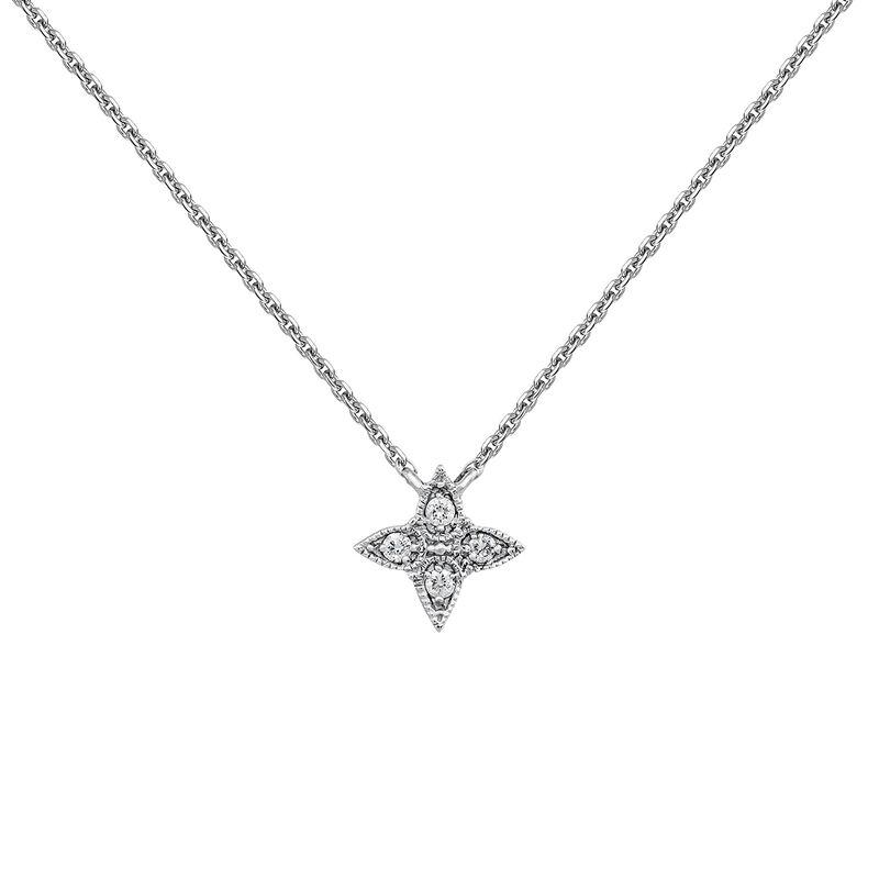 White gold diamond cross drop necklace 0.024 ct, J03925-01, hi-res