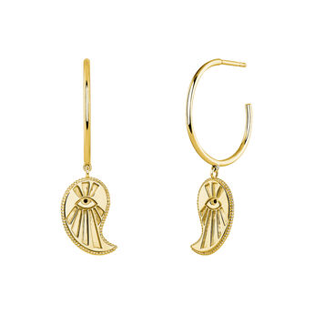 Hoop earrings cashmere gold, J04131-02-BSN, hi-res