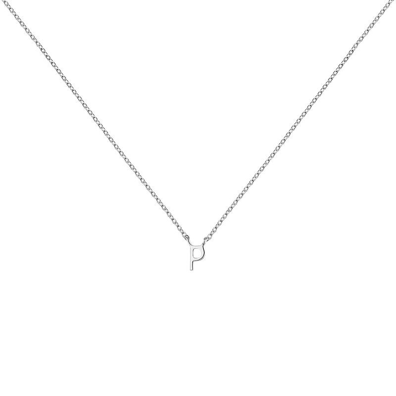 White gold Initial P necklace, J04382-01-P, hi-res