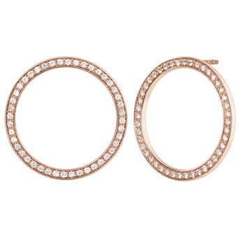 Rose gold plated circle earrings with topaz, J04051-03-WT, hi-res