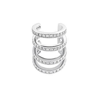 Boucle d'oreille piercing cartilage créoles topaze argent, J04028-01-WT, hi-res