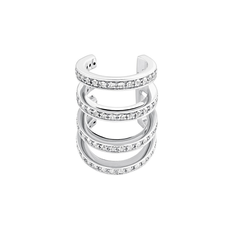 Silver hoops topaz cartilage ring, J04028-01-WT, hi-res