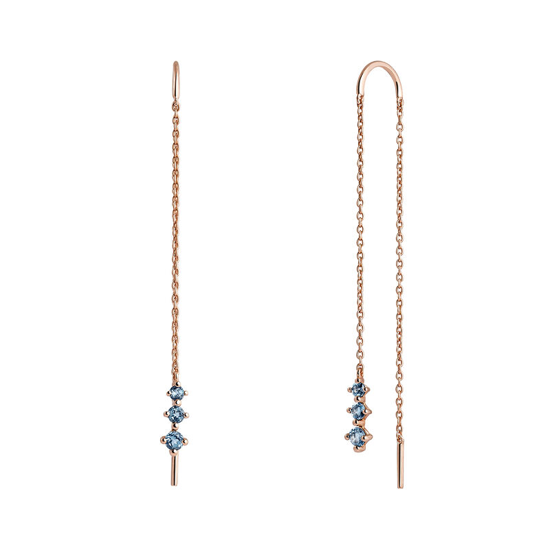 Rose gold plated stones pendant earrings, J03674-03-LB, hi-res