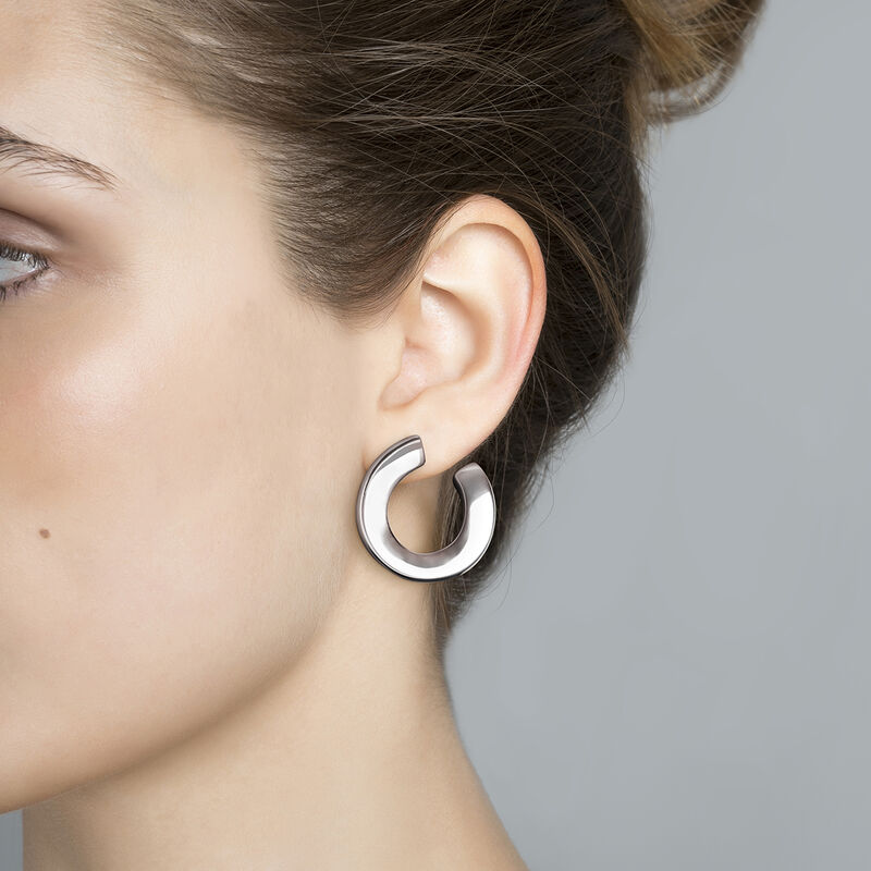 Silver sculptural hoop earrings, J03521-01, hi-res