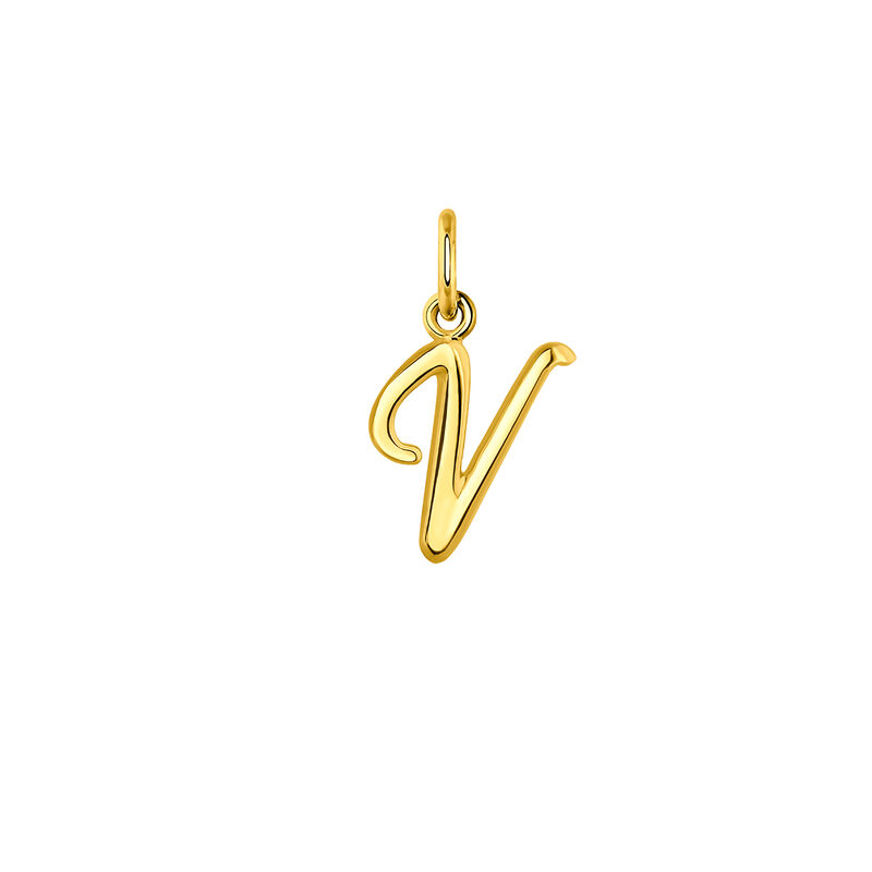 Pendentif lettre V argent plaqué or, J03932-02-V, hi-res