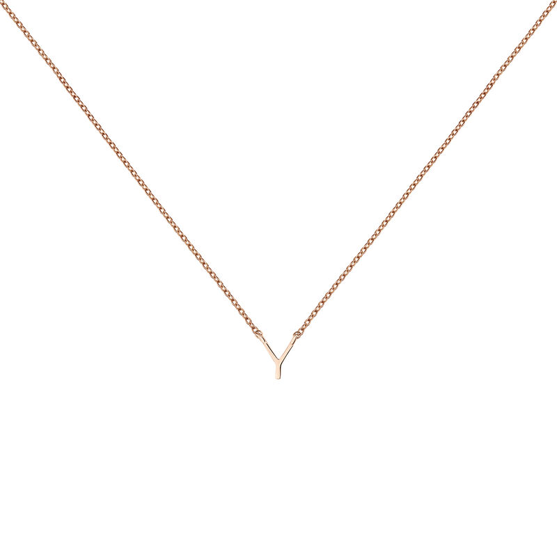 Rose gold Initial Y necklace, J04382-03-Y, hi-res