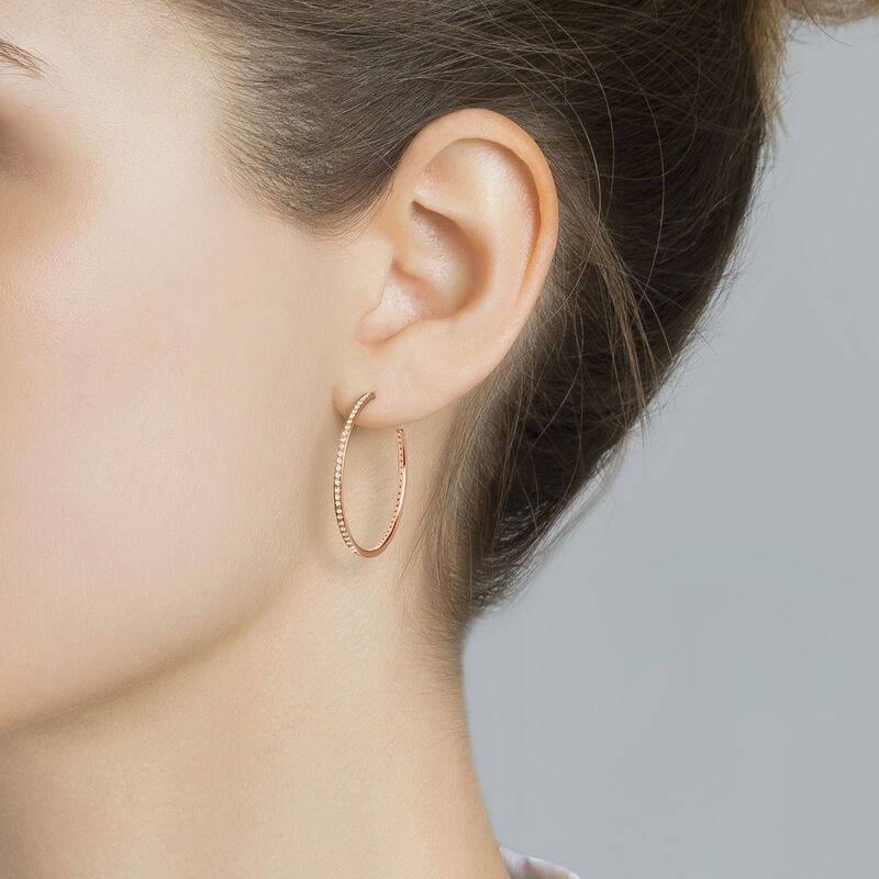 Rose gold plated hoop earrings with topaz, J04030-03-WT, hi-res