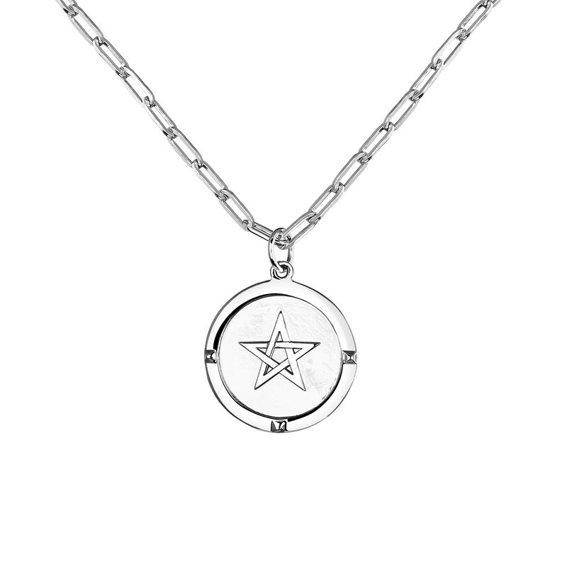Silver star coin pendant, J03589-01, hi-res