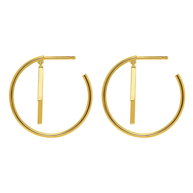 Pendientes de aro rayo topacio plata recubierta oro, J03631-02-WT, hi-res