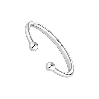 Silver piercing balls you and me ring, J04324-01, hi-res