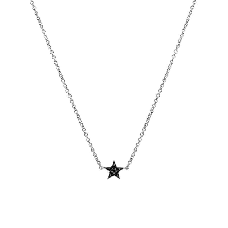 Silver star necklace with spinels, J01863-01-BSN, hi-res