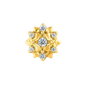 Small flower gold piercing diamond 0.012 ct., J04362-02-H, hi-res