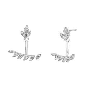 Ear jackets feuille diamant argent, J03716-01-GD, hi-res