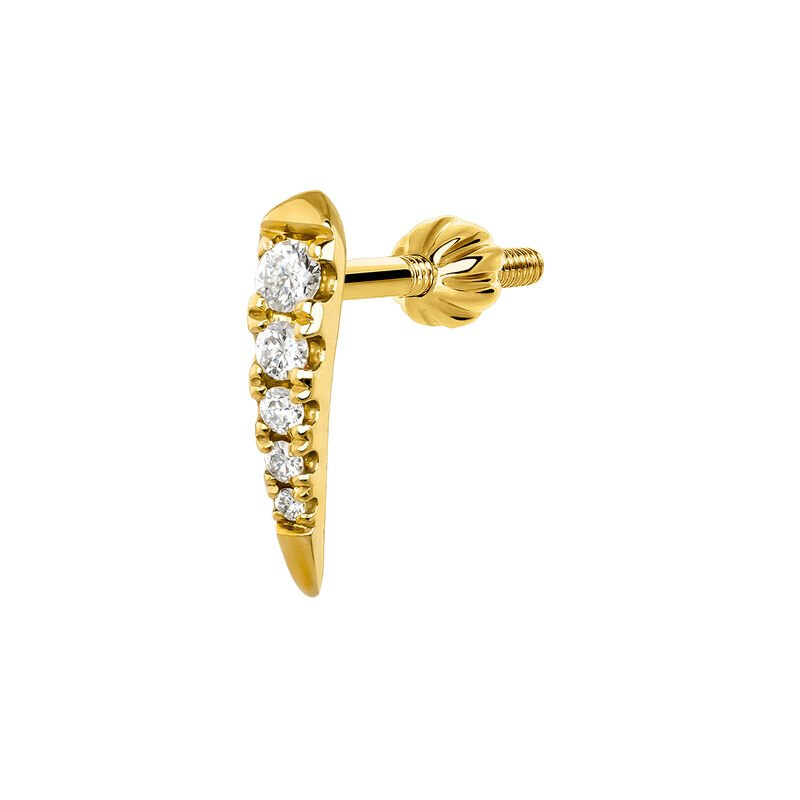 Gold claw five diamonds earring piercing 0.05 ct, J03877-02-H, hi-res