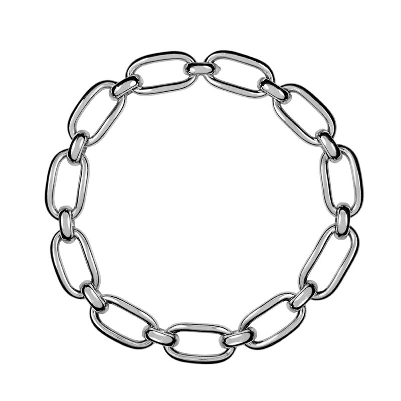 Silver square link necklace, J00908-01, hi-res