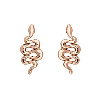 Boucles d'oreilles serpent argent  plaqué or rose, J04010-03, hi-res