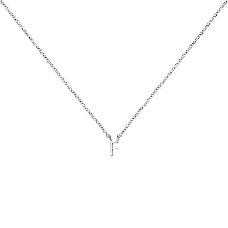 Collier iniciale F or blanc, J04382-01-F, hi-res