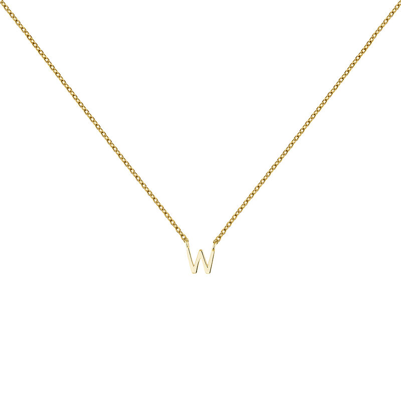Collier initiale W or, J04382-02-W, hi-res
