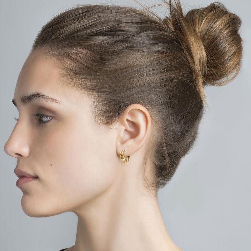 Gold plated triangle pendant motifs hoop earrings, J04599-02, hi-res