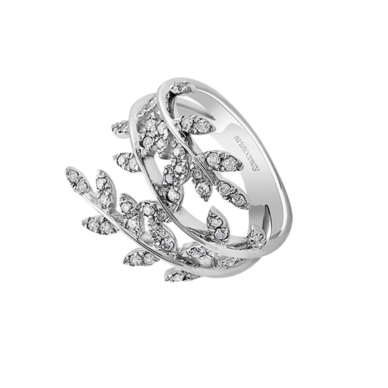 Large silver leaves ring with diamonds, J03120-01-GD, hi-res