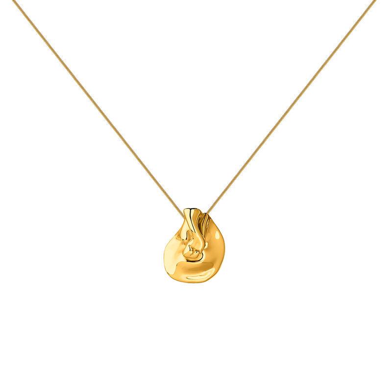 Gold plated large petal necklace, J04387-02, hi-res