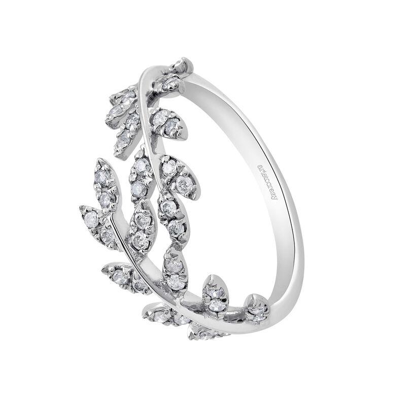 Bague feuilles diamants argent, J03119-01-GD, hi-res