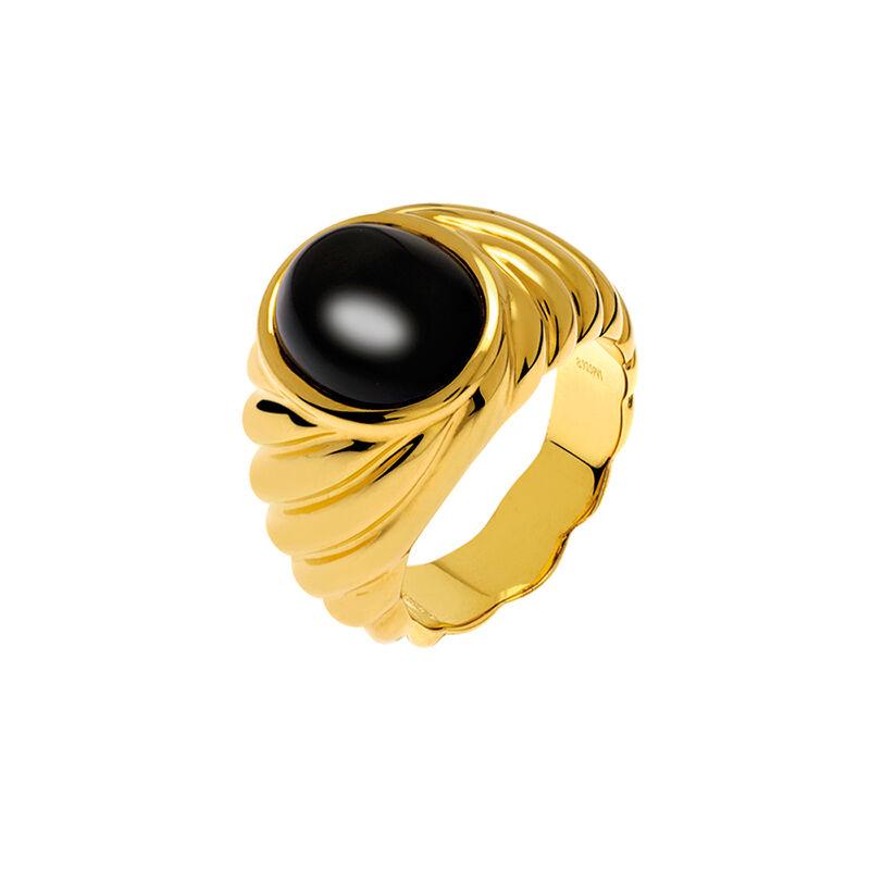 Anillo sello ónix platarecubierta oro, J01747-02-ON, hi-res