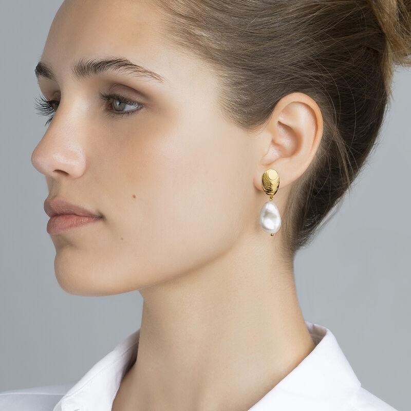 Boucles d'oreilles ovales perle barroque argent plaqué or, J04197-02-WP, hi-res