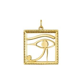 Pendentif égyptien oeil d'Horus argent plaqué or, J04272-02, hi-res