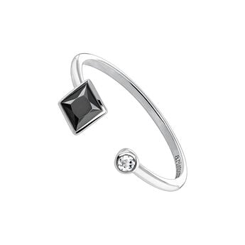 Silver You and me ring with spinels , J04086-01-BSN-WT, hi-res