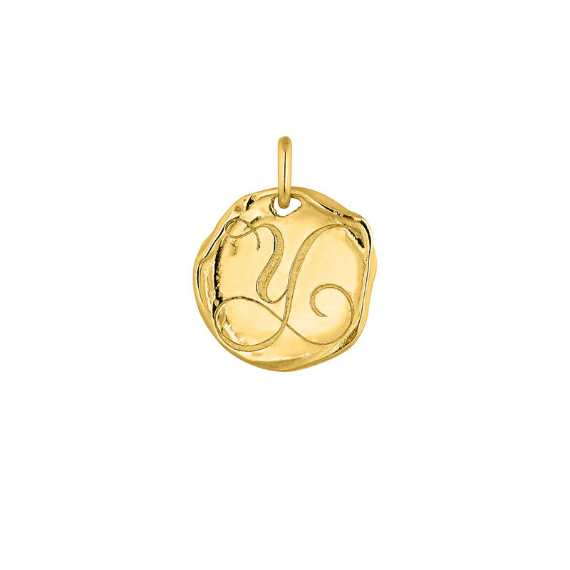 Gold plated Initial Y medal pendant, J04641-02-Y, hi-res