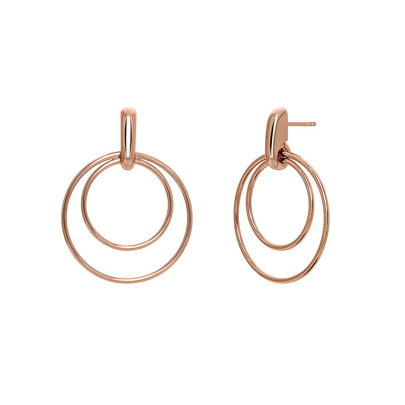 Thin rose gold double hoop earrings, PINKGOLDPLATED STERLING SILVER, hi-res