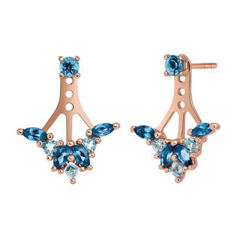 Rose gold ear jackets topaz, J03422-03-LBSBSK, hi-res