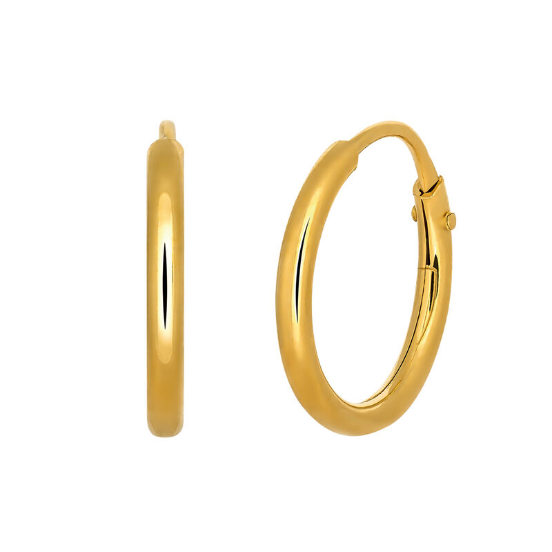 Gold plated simple  hoop earrings, J03467-02-PQ, hi-res